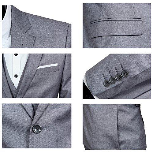 Herren Anzug Regular Fit Business Anzüge 3-Teilig Anzugjacke Anzughose Weste Grau