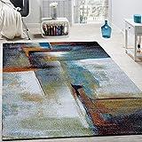 Paco Home Tappeto di Design A Quadri Trendy Screziato Appariscente in Beige Marrone Grigio, Dimensione:80x150 cm
