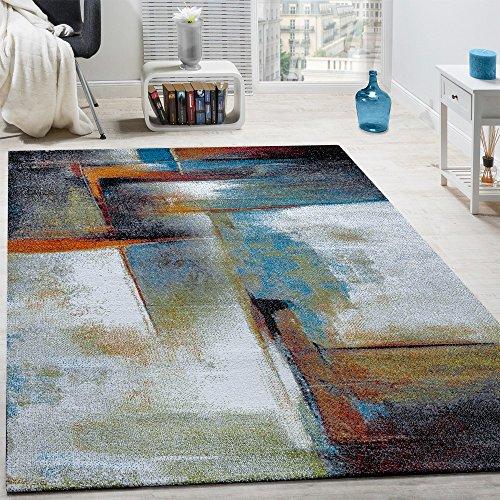 Paco home tappeto di design a quadri trendy screziato appariscente in beige marrone grigio, dimensione:160x230 cm