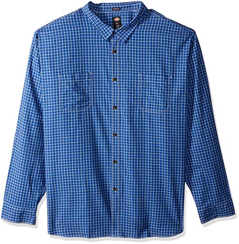 Dickies Men's Long Sleeve Relaxed Yarn Dye Plaid Shirt Big - Dye Plaid Shirt