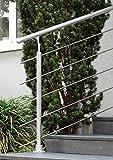 Geländer Ergänzungs-Set aus Aluminium mit 1 Pfosten | 1,20 m | mit Geländerstäben aus Edelstahl | Für aufgesetzte Montage | Als Treppengeländer oder Brüstungsgeländer im Innen- und Außenbereich geeignet