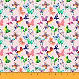 Soimoi Butterfly Print 55 GSM Viskose Chiffon Stoff 42 Zoll