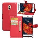 Kihying Hülle für Meizu Pro 6 Plus Hülle Schutzhülle PU Leder Flip Wallet Fashion Geschäft HandyHülle (Rot - JFC03)