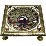 Purpledip Small Meenakari Chowki For Idols, Puja Size 6 Inch (10204)