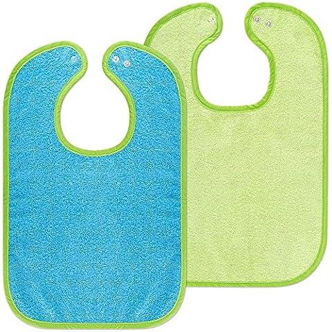 Baby de babero con botón de presión/Baby de Peto Juego de 2/con Certificación Oeko-Tex Standard 100/Rizo–100% baummwolle–Verde Azul