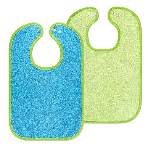 2er Set - Baby Lätzchen / Kinderlätzchen mit Druckknopf / Größenverstellbar / Extra groß / Sehr saugfähig / Öko-Tex schadstoffgeprüft / 100% Baumwolle (Blau / Grün) -