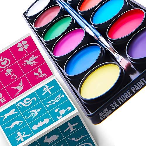 Blue Squid Kit de Pintura Facial para Niños - 30 Plantillas 12 Colores Lavables...