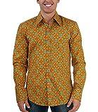70er Jahre Muster Retro Hemd grün orange M