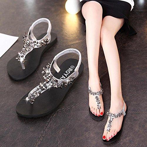 Transer ® Femmes été perle Bohême sandales plate-forme en cuir Flip Flops Argent