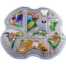 deAO Alfombra de Juegos / Caja de Juguetes 2en1 Diseño Convertible – Circuito Para Coches Calles de Ciudad – Material Resistente y Lavable