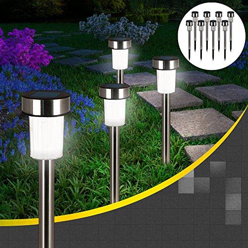 8x LED Solarlampe aus Edelstahl ✔wetterfest ✔automatisches Einschalten bei Dämmerung ✔ automatisches Aufladen bei Sonnenlicht ✔ warm-weiß ✔ Solarleuchte Gartenleuchte Solarlampe Wegeleuchte Gartenbeleuchtung