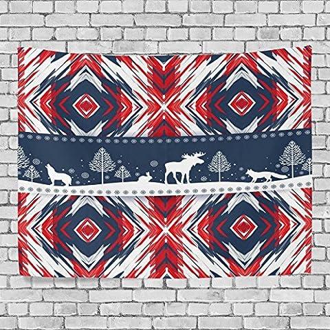 welllee Merry Christmas Wand Wandteppich, Motiv Xmas Red Houndstooth Elk, werfen Home Decor Wandteppich für Schlafzimmer oder Wohnzimmer, 60x 40(in), Textil, blau, 80x60(in)