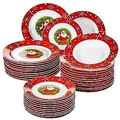 Idea Regalo - VEWEET Serie SANTACLAUS, stoviglie in porcellana, stoviglie di Natale da 36 pezzi, 12 piatti da dessert, 12 piatti da zuppa e 12 piatti da portata, piatti da portata completi per 12 persone