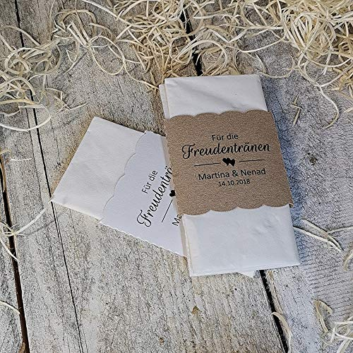 25 Freudentränen Banderolen Hochzeit Banderolen für Taschentücher Taschentücherbanderolen