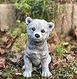 Steinfigur Hund Akita, Frost- und Wetterfest bis -30°C, Massiver Steinguss