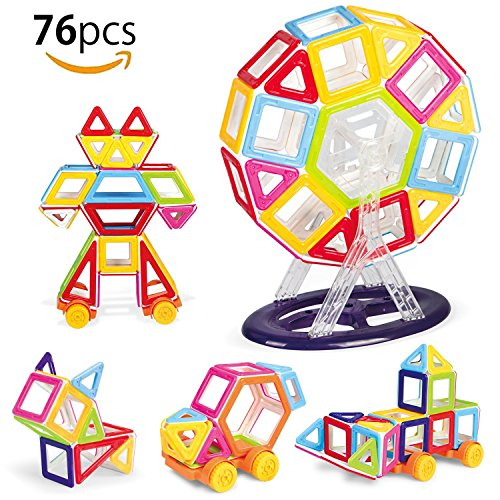 76 Pieces Magnetic Building Blocks,Kids Magnetic Toys Construction,Creativity & Educational Construction Magnetic Block Set