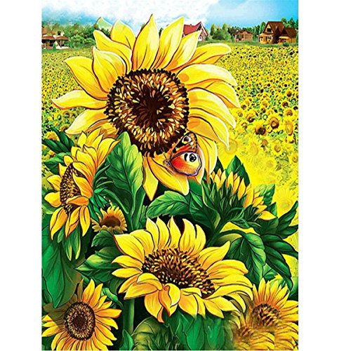 kit fai-da-te per creare un quadro di perline in 5d,pittura diamante 5d fai da te,diamond painting ,motivo: girasole, ideale per decorare le pareti della casa, 30 x 40 cm