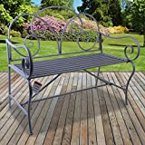 Marko Outdoor Girona Metal Garden Bench Vintage Rustic Pale Grey Ornate Decorative Patio 2/3 Seater Shabby Chic