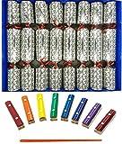 Ensemble de 8 Craquelins de Noël de Notes musicales Holly et Berry en argent de Crackers Ltd (Cat F1)