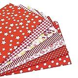 7 Stück 49cm * 49cm rot Baumwollstoff,patchwork stoffe,baumwollstoff meterware,stoffe patchwork stoffpaket
