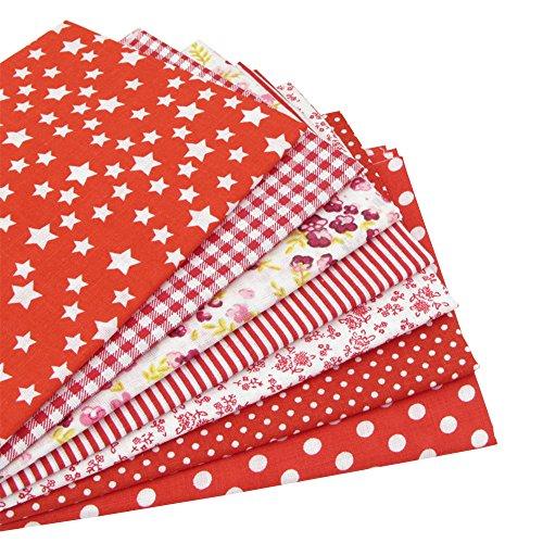 7 Stück 49cm * 49cm rot Baumwollstoff,patchwork stoffe,baumwollstoff meterware,stoffe patchwork stoffpaket (Quarter-muster Fat)