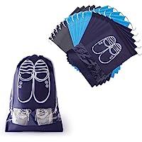 Hianjoo Sac à Chaussures 15 Pièces, Housses Chaussures Respirants en Non-tissé avec Fenêtre Transparente Drawstring Anti…