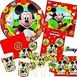 113-teiliges MICKEY MOUSE CLUBHOUSE - PARTY SET für Kindergeburtstag mit 6-10 Kinder: Teller, Becher, Servietten, Einladungen, Partytüten, Tischdecke, Trinkhalme, Luftballons, Luftschlangen u.v.m. // Geburtstag Party Kinderparty Kinderfest Kinder Fete Disney Pixar Mickey Mouse Maus