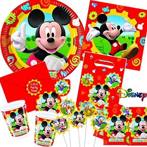 113-teiliges MICKEY MOUSE CLUBHOUSE - PARTY SET für Kindergeburtstag mit 6-10 Kinder: Teller, Becher, Servietten, Einladungen, Partytüten, Tischdecke, Trinkhalme, Luftballons, Luftschlangen u.v.m. // Geburtstag Party Kinderparty Kinderfest Kinder Fete Disney Pixar Mickey Mouse Maus (1. Geburtstag Von Mickey Mouse Einladungen)