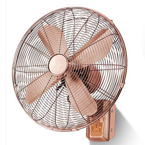 , Vintage Metal Wandventilatoren/Time Clock Fan l Befehl/Antique Electric Household Fan, elektrisches Gebläse/platzsparende Fan, 16-Zoll-Lüfter (Color : Remote Control)