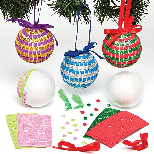 Kit Palline Natalizie a Mosaico per Bambini da Creare, Decorare e Appendere all'Albero di Natale (confezione da 4)