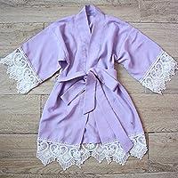 Lavender Girl Robe - Baby Robe con encaje Trim-Flower Girl Robe-Flower Girl