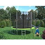 XXL Trampolin 305 cm Gartentrampolin Komplettset mit Netz innenliegend Leiter Erdanker Spanngurte Abdeckung - 5