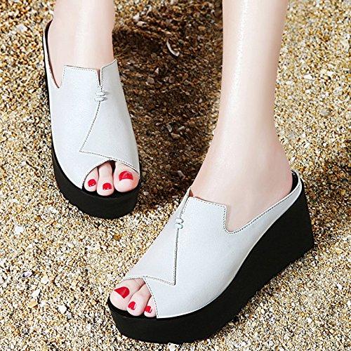 ZPPZZP Ms sandali pantofole a tacco alto stile Coreano selvatici spessa con pendenza 36EU