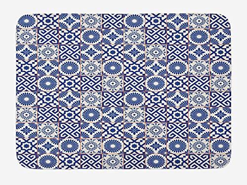 BAIF LnimioHOX marokkanischen Badematte, Alten osmanischen Stil inspiriert Mischung aus marokkanischen Fliesen in modernen Farben Artwork Print, Plüsch Badezimmer Dekor Matte mit Rutschfester Rüc (Badematte Marokkanischen)