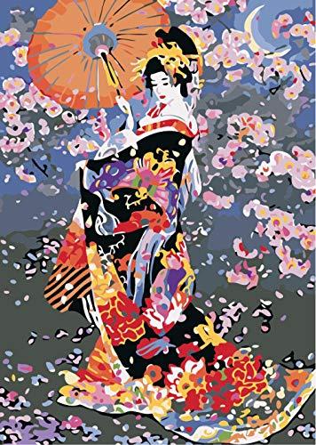 Diy Digital Lienzo Pintura Mujer Japonesa Actividades