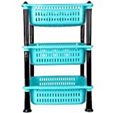 RNC Rielan Premium Plastic 3 Steps Rectangle Kitchen Rack Basket for Kitchen & Office Use, Fruits Onion, Potato, Vegetables B