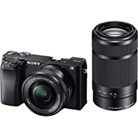 (Renewed) Sony Alpha ILCE-6100Y 24.2 MP Mirrorless Digital SLR Camera with 16-50 mm and 55-210 mm Zoom Lenses (APS-C Sensor, Fast Auto Focus, Real-time Eye AF, Real-time Tracking, Vlogging & Tiltable Screen)