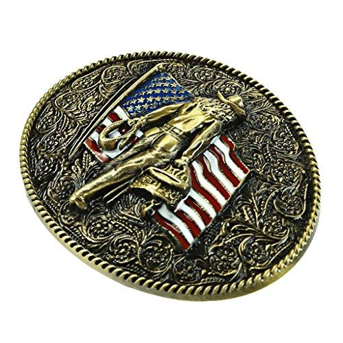 MagiDeal Vintage Böhmischem Stil Gürtelschnalle für Herren - Amerikanische Fahne Muster