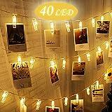 LED Foto Clip Lichterkette,BEQOOL Warmweiß Batteriebetriebene Stimmungsbeleuchtung Wanddekoration für Festival, Weihnachten, Hochzeit Dekoration