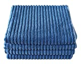 Gryeer Bamboo and Microfibre Kitchen Tea Towels, Super Absorbent, Large and Thick Dish Towels, One Side Ribbed One Side Smooth Cleaning Cloths, 50x76cm, 4 Pack - Blue