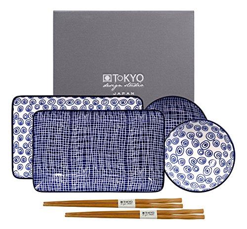 Tokyo Design Studio, Le Bleu De Nimes, Sushi Assiette + bol + baguette, porcelaine, Coffret de 2
