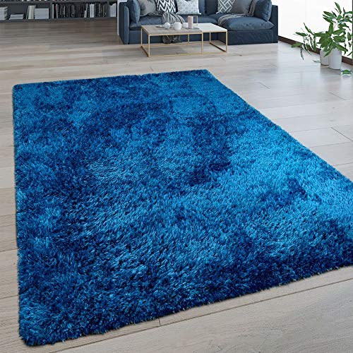 Tappeto Soggiorno Pelo Lungo Lavabile Shaggy Effetto Flokati Tinta Unita Blu, Dimensione:60x100 cm