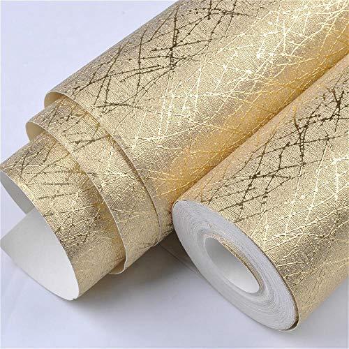 WAWDH Tapete Vinyl Deluxe Metallic Flash Gold Textur Wandaufkleber Rolle Tapete Wandbild 10Mx53Cm -