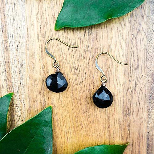 Black onyx crystal teardrop dangle earrings in bronze - July birthstone (Teardrops Crystal)