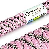 Ganzoo Paracord 550 Seil für Armband, Leine, Halsband, Nylon-Seil 30 Meter, pink schwarz