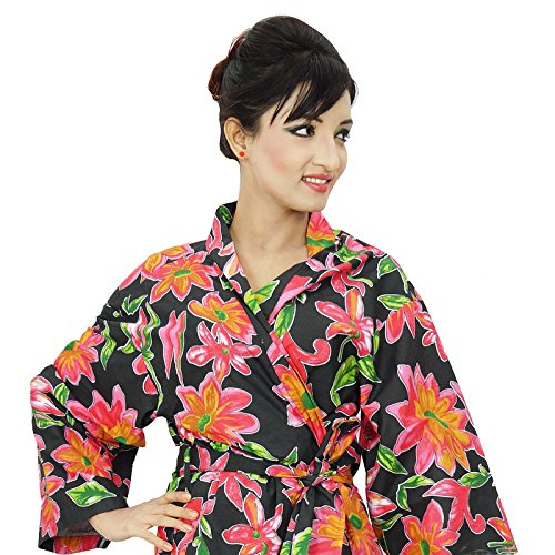 Coton Robe demoiselle honneur Crossover Kimono Robe Spa Wrap Noir et rose