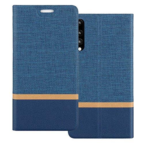 Coque Huawei P20 Pro, Shanphone Design bicolore Étui à Rabat de type Flip Cover en PU Cuir Pour Huawei P20 Pro, Bleu