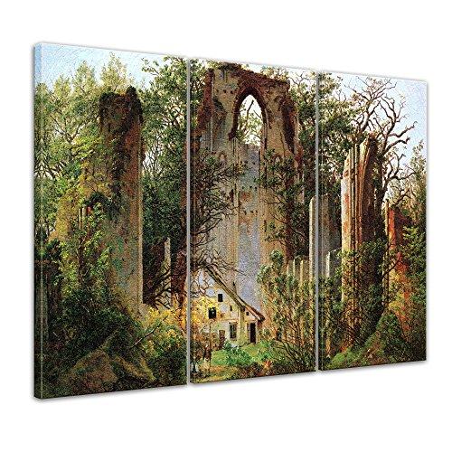 Wandbild Caspar David Friedrich Klosterruine Eldena - 120x80cm mehrteilig quer - Alte Meister Berühmte Gemälde Leinwandbild Kunstdruck Bild auf Leinwand