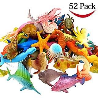 Ocean Sea Animal, 52 Pack Assorted Mini Vinyl Plastic Animal Toy Set, YeoNational Toys Realistic Under The Sea Life Figure Bath Toy for Child Educational Party Cake Cupcake
