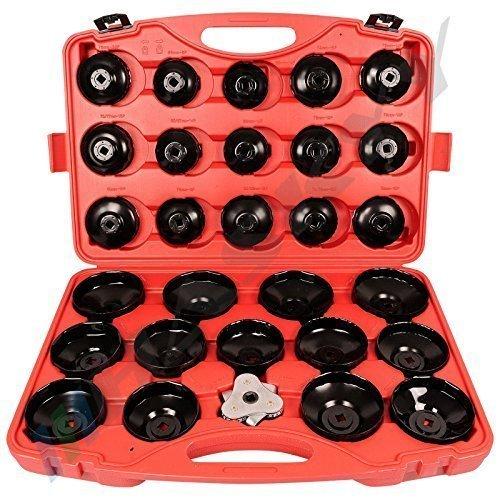 31 tlg. Professionelles Ölfilterkappen Set für Lösen und Festziehen Ölfilterkartuschen inkl. Koffer / Werkzeug Koffer Set Ölfilter COEFS-14